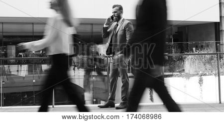 Businessmen Calling Phone People Walk