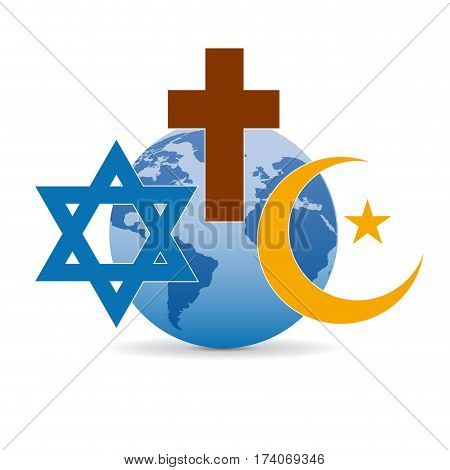 Peace and dialogue between religions. Christian symbols jew and Islamic