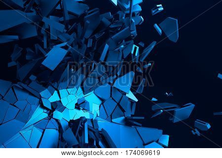 Abstract 3d rendering of cracked surface. Background with broken blue shapes. Wall destruction. Bursting with debris. Modern cgi illustration.