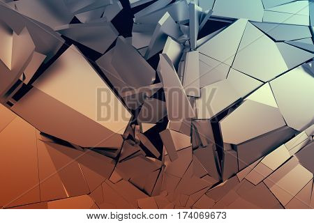 Abstract 3d rendering of cracked surface. Background with broken orange and blue shapes. Wall destruction. Bursting with debris. Modern cgi illustration.
