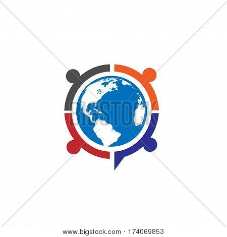 People unity logo vector, Colorful people around earth globe