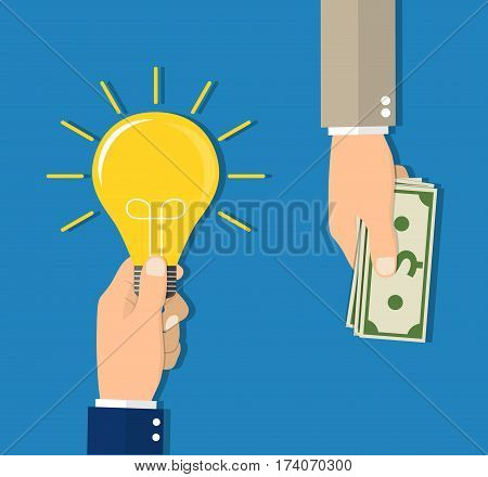 Flat design colorful concept for investing into ideas, crowdfunding, funding project by raising monetary contributions