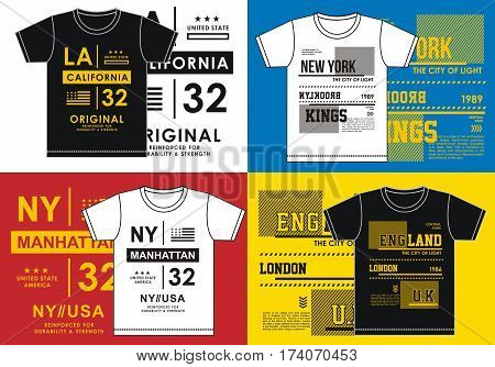 screen printing Los Angeles and New York in t-shirt, vector.