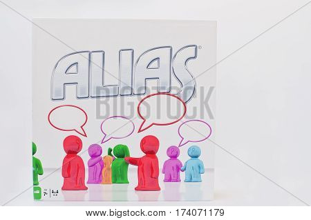 Hai, Ukraine - March 1, 2017: Alias Is A Board Game, Where The Objective Of The Players Is To Explai