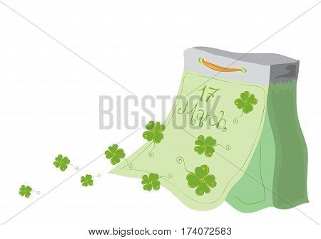 vector tear-off calendar with flying away clover leaves on a white background / very lucky St Patricks Day