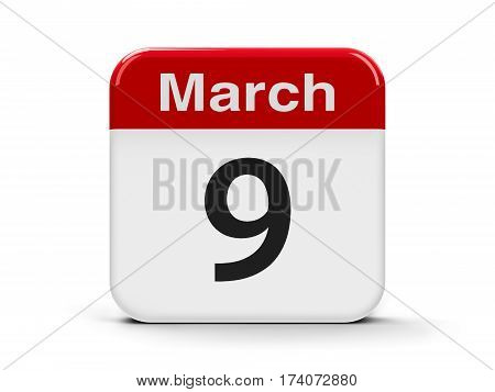 Calendar web button - The Ninth of March - World DJ Day three-dimensional rendering 3D illustration