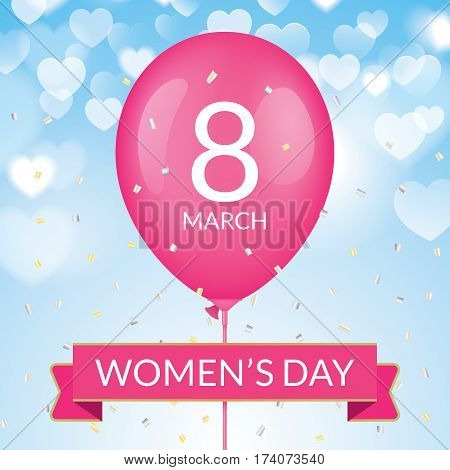 8 march greeting card template, with pink balloon and ribbon on a blue blurry bokeh background. International womens day greeting car design.