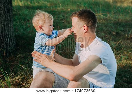 Little Boy 1 Year Old With His Father Playing With Baloons, Birthday, Summer