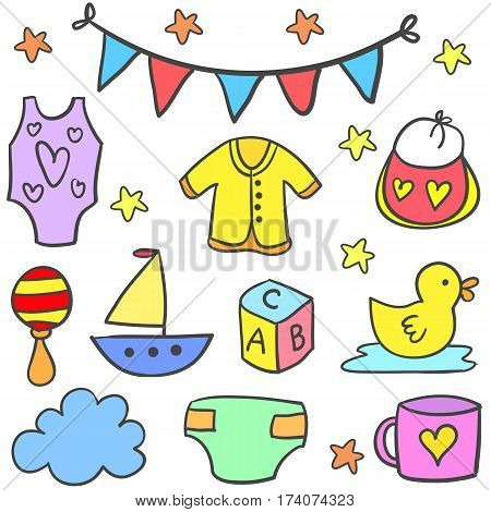Doodle of toy baby set vector collection stock