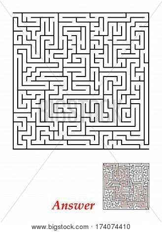 Labyrinth with entry and exit square black isolated on a white background. With the correct answer