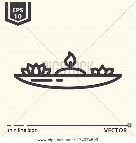 Thin line icon - candlestick for meditation. EPS 10. Isolated object.