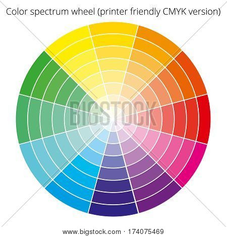 Vector color spectrum, Itten 12-color wheel, printer-friendly CMYK palette, on white background