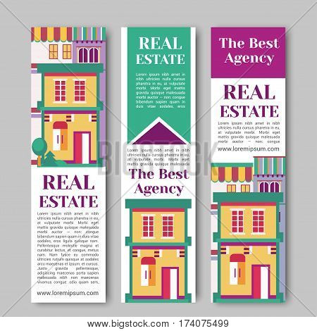 Real estate flat vertical banner set with house logo, ribbon, trees. Village apartment rental and buying vector illustration.