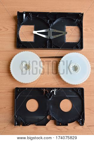 video tape recorder separate parts on table