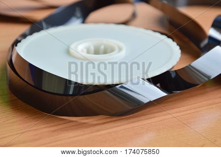 video tape recorder reel on the table