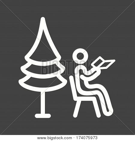Peoples, sitting, park icon vector image. Can also be used for city lifestyle. Suitable for use on web apps, mobile apps and print media.