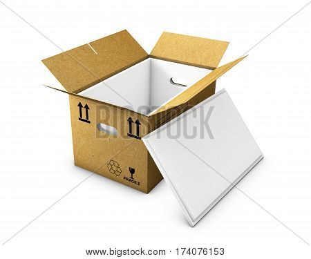 empty cardboard box opened with insulated foam in and cap, isolated on white background 3d Illustration
