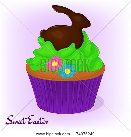 Yummy cupcake for Easter with flowers and chocolate rabbit. Holiday background, poster or placard template in simple cartoon style. Vector illustration. Holiday Collection.