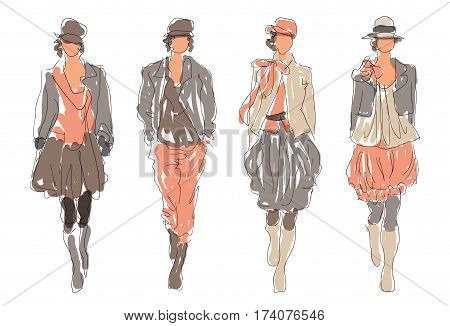 Sketch Retro Fashion Women Models  - vector