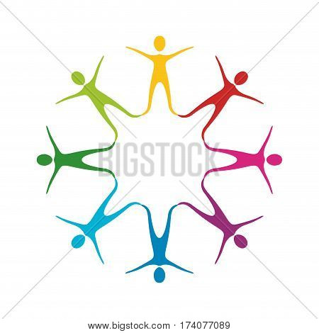 color people making a star with their legs, vector illustraction design