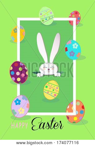 Happy Easter Holiday lettering, Easter Rabbit and Easter eggs, green background. Cute Easter Bunny. Greeting card. Futuristic style. Spring Poster. Frame Vector Illustration