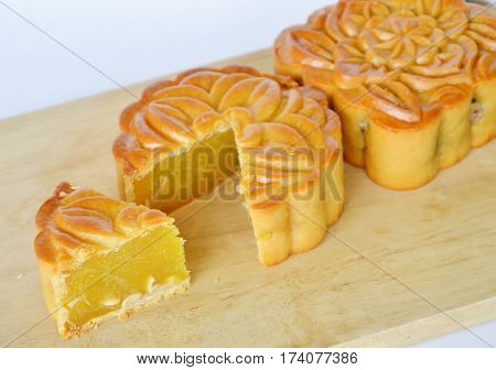 moon cake Chinese tradition dessert in festival on chop plate
