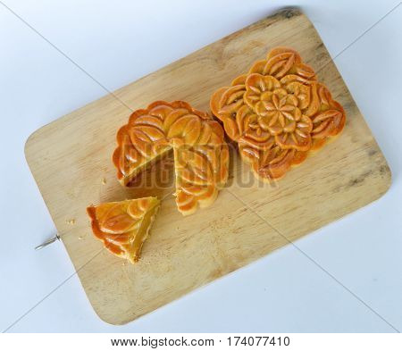 moon cake Chinese tradition dessert in festival on chop block