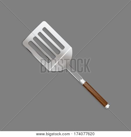 Shovels skimmer with a beautiful wooden handle for cooking meat on a grill in a realistic style for use as logos on cards in printing posters invitations web design and other purposes.