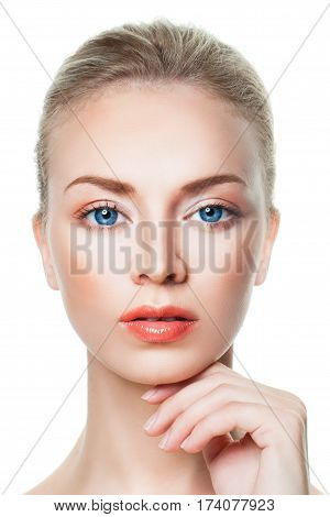 Aesthetic Medicine and Cosmetology. Spa Perfect Model Woman Closeup Portrait on White