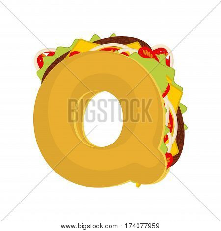 Letter Q Tacos. Mexican Fast Food Font. Taco Alphabet Symbol. Mexico Meal Abc