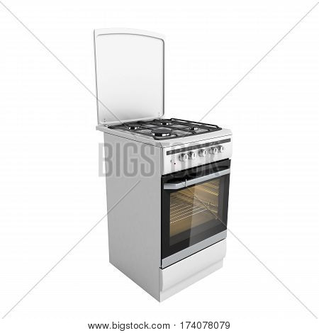Gas Stove 3D Render Image No Shadow