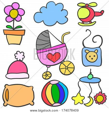 Collection stock of baby doodle set vector art