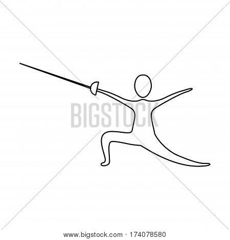 figure person practicing fencing icon, vector illustraction design image