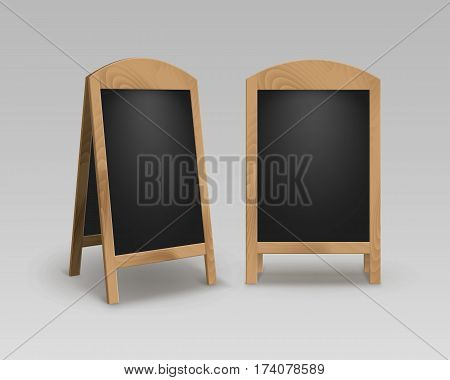 Vector Set of Wooden Empty Blank Advertising Street Sandwich Stands Sidewalk Signs Black Menu Boards Isolated on Background