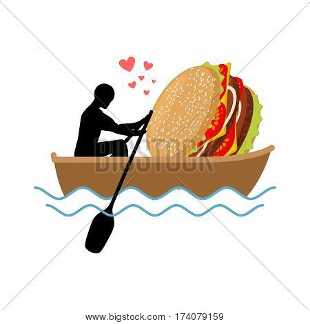 Lover Fast Food. Man And Hamburger Ride In Boat. Guy And Burger. Lovers Of Sailing. Romantic Date Fa