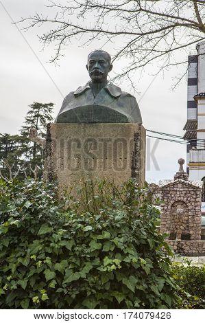 Plasencia Spain - February 15 2017: Gabriel y Galan Poet bronze sculpture