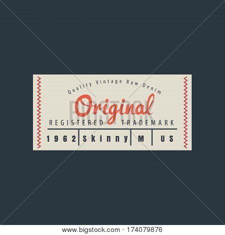 vintage original blue jeans raw denim labels genuine exclusive brands vector illustration