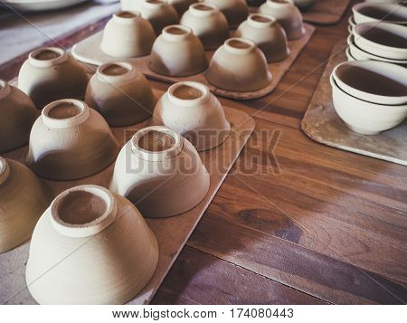 Pottery Clay handmade Craft product on wooden table