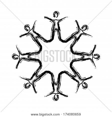 contour people making a star with their legs, vector illustraction design