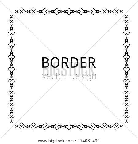 Square black scythian vector border on white background