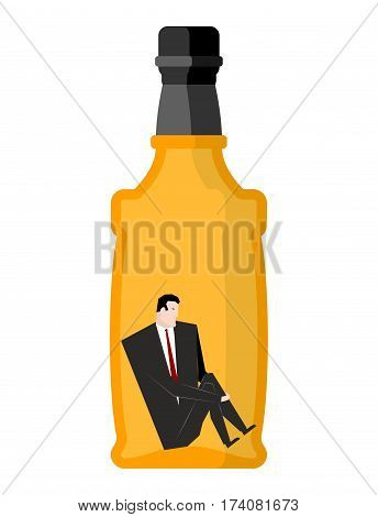 Man drinker inside bottles. Businessman sitting in an empty bottle of alcohol. drunkard illustration