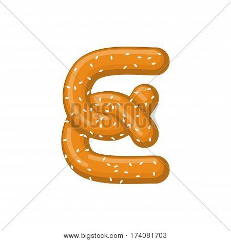 Letter E Pretzel. Snack Font Symbol. Food Alphabet Sign. Traditional German Meal Is Abc. Bake