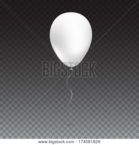 Inflatable air flying balloon isolated on transparent background. Close-up look at white balloon with reflects. Realistic 3D vector illustration