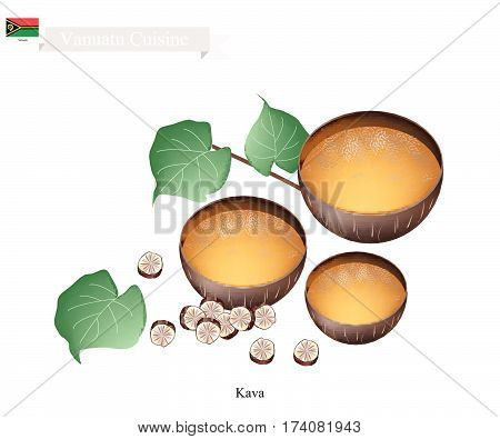 Vanuatu Cuisine Illustration of Kava Drink or Traditional Beverage Made From The Roots of The Kava Plant Mixed with Water. One of The Most Popular Drink in Vanuatu.