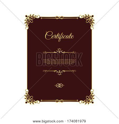 Dark red certificate template with golden elements. Vector illustration