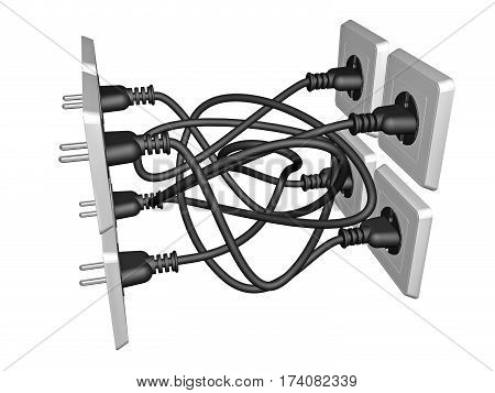 Tangled 3D electrical cables stuck in the sockets isolated on white background