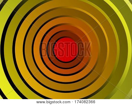Colored concentric circles in the form of a warm color spectrum made in 3D