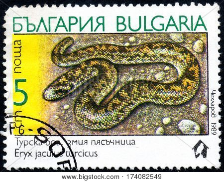 UKRAINE - CIRCA 2017: A stamp printed in Bulgaria shows the image snake erycinae with the description Eryx jaculus turcicus from the series Snakes circa 1989