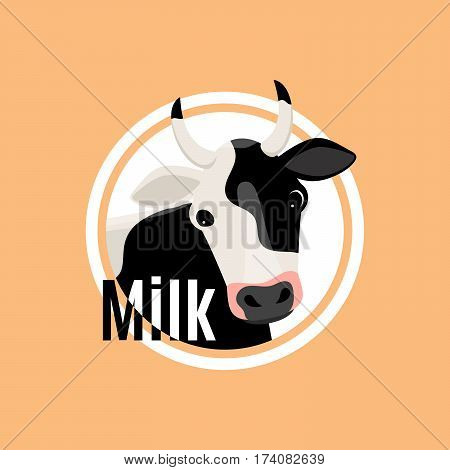 Black and white cow head flat logo template in circle shape. Vector illustration