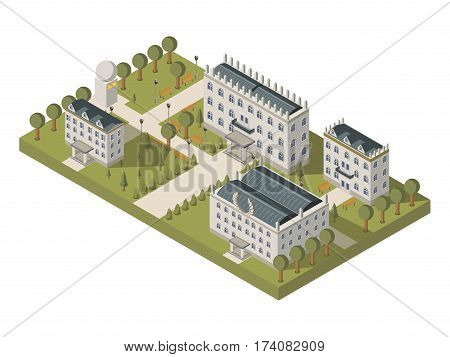 Isometric university concept with university buildings lawns and park vector illustration